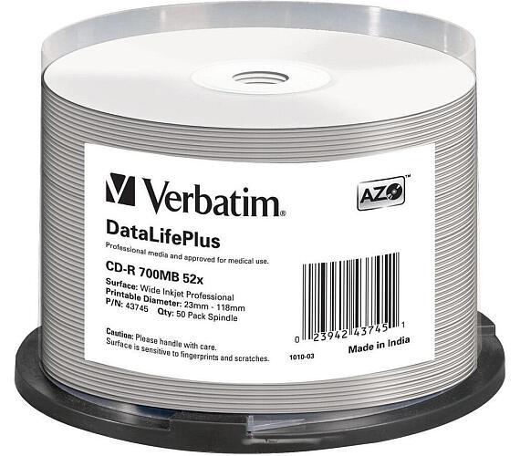 VERBATIM CD-R(50-Pack)Spindle/Print/52x/700MB/NoID
