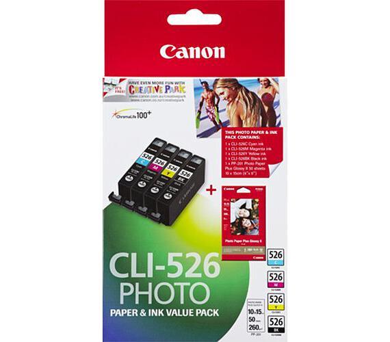 Canon CLI-526 C/M/Y/B + 50x PP-201