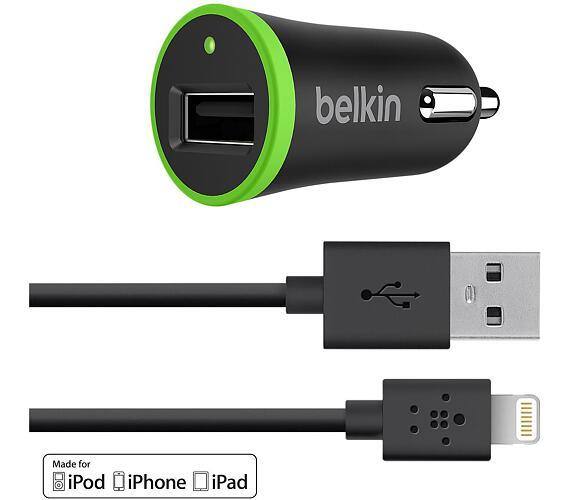 BELKIN Micro USB autonabíječka,2.4A+ Lightning,čer (F8J121BT04-BLK) + DOPRAVA ZDARMA