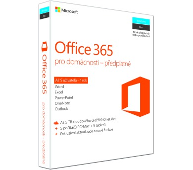 Office 365 Home 32-bit/x64 SK pronájem + DOPRAVA ZDARMA