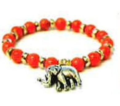 Oranžový náramek se slonem
