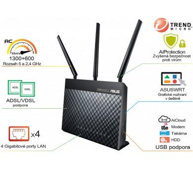 Asus DSL-AC68U - AC1900 dvoupásmový ADSL/VDSL Wi-Fi Modem router + DOPRAVA ZDARMA