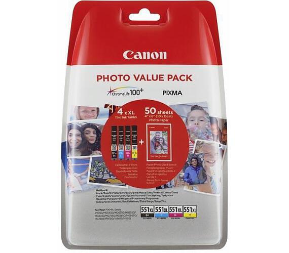 Canon CLI-551XL C/M/Y/BK + 50x PP-201