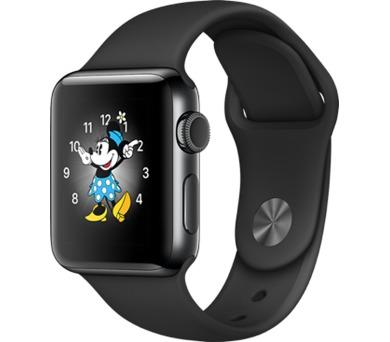 Apple Watch Series 2 38mm pouzdro z vesmírně černé nerezové oceli – černý sportovní řemínek