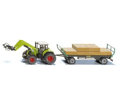 SIKU Farmer - Traktor s balíkovacím nástavcem a vlekem 1:50 + DOPRAVA ZDARMA
