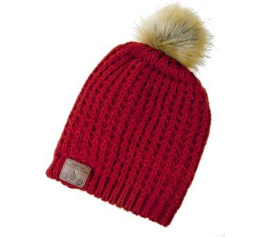 Čepice s bambulí s bluetooth sluchátky červená