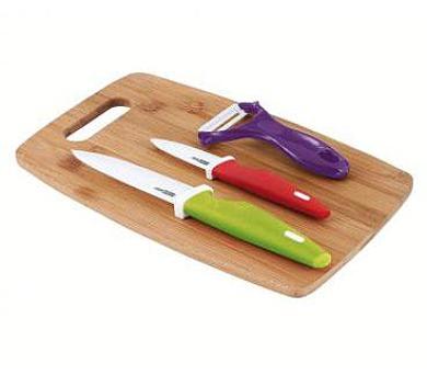 Kitchen Artist MEC108 - Sada keramických nožů se škrabkou a bambusovým prkénkem.