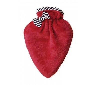 Termofor Hugo Frosch ve tvaru srdce s červeným obalem bez výšivky