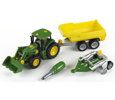 John Deere Traktor se sklápěcím přívěsem a pluhem + DOPRAVA ZDARMA