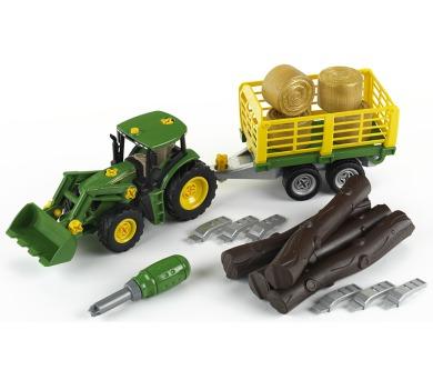 John Deere Traktor s přívěsem na dřevo a seno + DOPRAVA ZDARMA