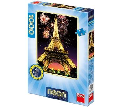 Dino puzzle Noční Eiffelovka 1000 dílků neon