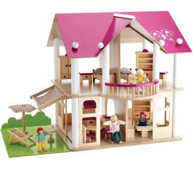 Dřevěná vila s nábytkem a panenkami + DOPRAVA ZDARMA