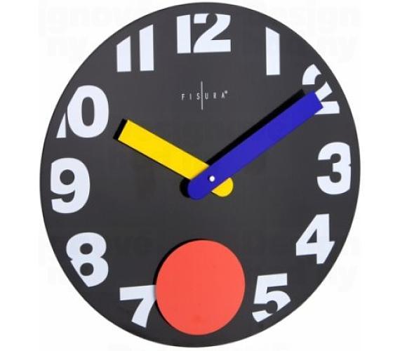 Fisura nástěnné hodiny Punto Black 40cm + DOPRAVA ZDARMA