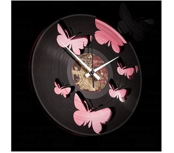 Discoclock 056 Motýli Pink 30cm + DOPRAVA ZDARMA
