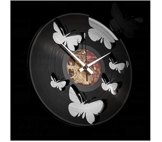 Discoclock 056 Motýli Silver 30cm + DOPRAVA ZDARMA