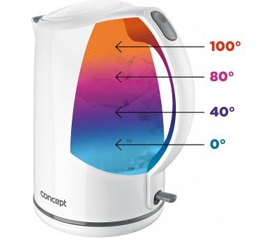 Concept RK2350 Rychlovarná konvice plastová 1,7 l s barevným podsvícením při změně teploty