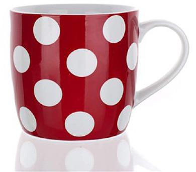 Hrnek keramický červený s puntíky 310 ml