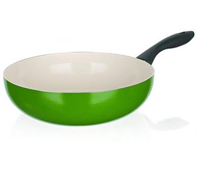 BANQUET Pánev WOK s keramickým povrchem NATURA CERAMIA Verde 28 cm + DOPRAVA ZDARMA