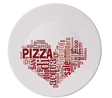 BORMIOLI Talíř skleněný pizza I LOVE PIZZA RED 33 cm