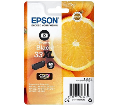 Epson Singlepack Photo Black 33XL Claria Prem. Ink (C13T33614012)