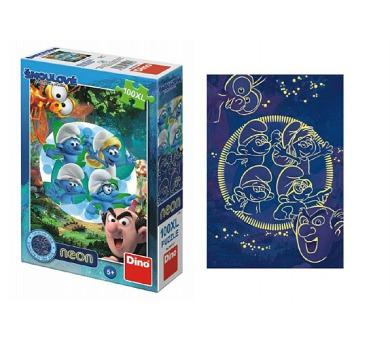 Puzzle Šmoulové 3: Kouzelný les svítící ve tmě 100XL dílků 33x47cm v krabici 18x26,5x6cm