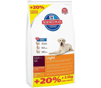 Hill's Canine Adult Light Large Breed 12 kg + 2,5 kg zdarma