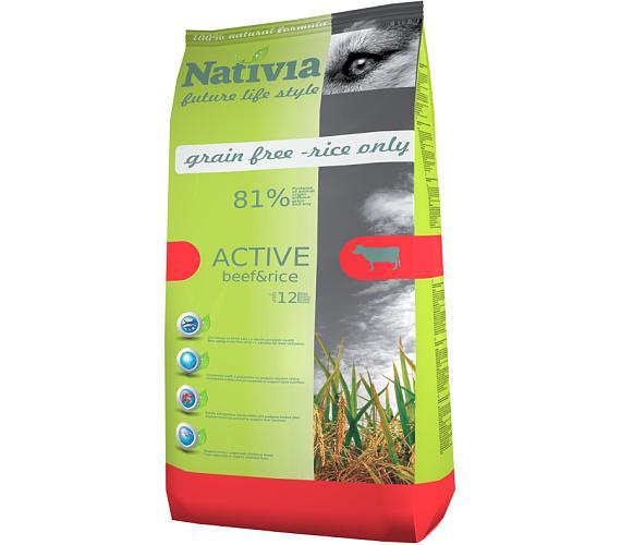 Nativia Dog Active Beef & Rice 15 kg + DOPRAVA ZDARMA