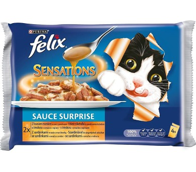 Felix cat kaps.-Sens.Sauce Surpr.Multipack treska 4 x 100 g