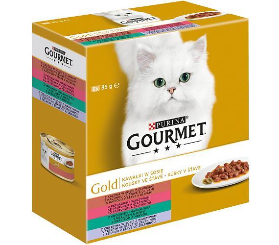Gourmet Gold cat konz.-kousky se zel. Multipack 7 + 1 ks zd. x 85 g