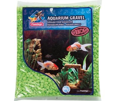 Písek akvarijní Neon zelený Flamingo 1 kg