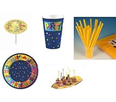 PÁRTY SET PAPSTAR - párty kelímky + párty talíře + párty zapychovátka + párty deštníčky + párty brčka