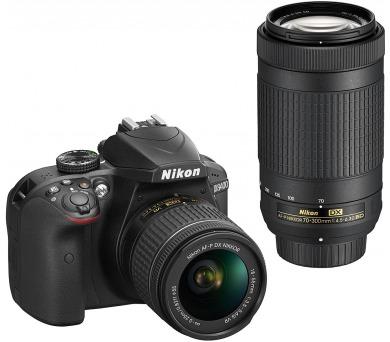 NIKON zrcadlovka D3400 + AF-P 18-55 VR + 70-300 VR - černý - rozbaleno + ZDARMA powerbanka Nikon