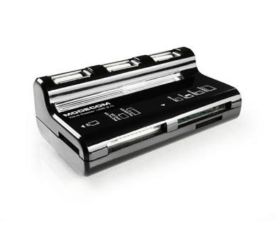 Modecom CR WAVE externí čtečka paměťových karet s pasivním 3-portovým USB 2.0 hubem
