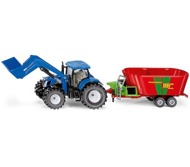 SIKU Farmer - traktor New Holland s předním nakladačem a vlekem