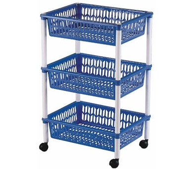 Regál 1563 (3 košíky) GUAPISSIMO bílá/modrá