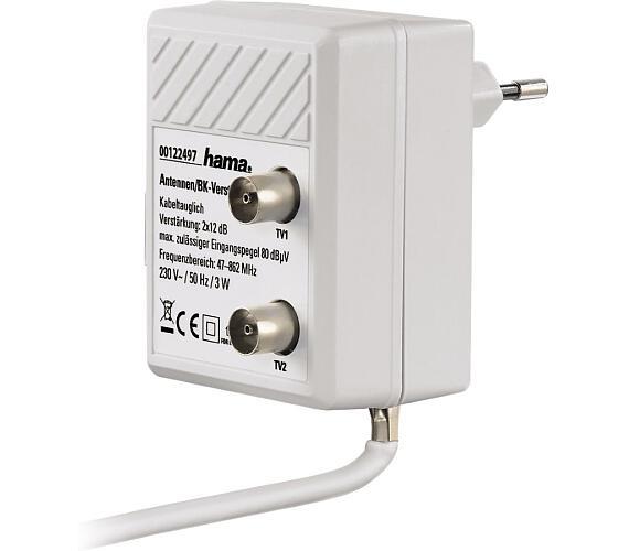 HAMA zásuvkový anténní rozbočovač se zesilovačem/ zesílení 2 x 12dB/ frekvenční rozsah 47 až 862 MHz/ bílý + DOPRAVA ZDARMA