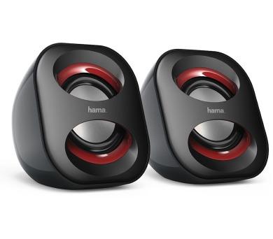HAMA reproduktory k notebooku a PC Sonic Mobil 183/ 2.0/ 3W/ 3,5 mm jack/ USB/ černo-červené
