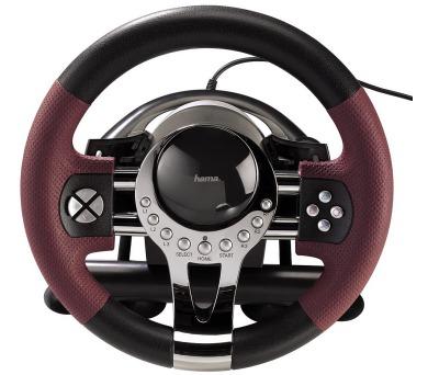 HAMA sada volantu a pedálů Thunder V5/ pro PC + PS3/ USB/ černá-červená-kovová