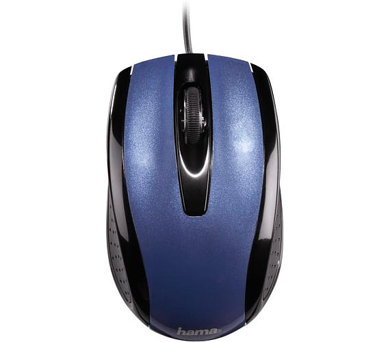 HAMA myš AM-5400/ drátová/ optická/ 800 dpi/ 3 tlačítka/ USB/ metalická modrá (134902)