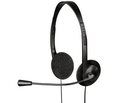 HAMA headset HS-101/ drátová sluchátka + mikrofon/ 2x 3,5 mm jack/ citlivost 110 dB/mW/ černá