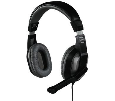 HAMA headset Offbeat/ drátová sluchátka + mikrofon/ 2x 3,5 mm jack/ citlivost 105 dB/mW/ šedá