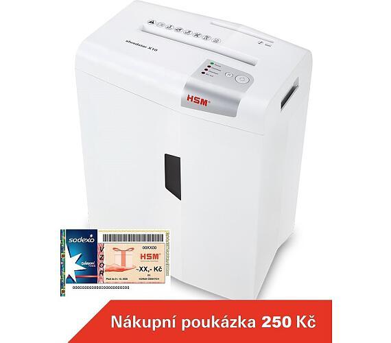 HSM skartovačka ShredStar X10/ formát A4/ velikost řezu 4x35mm/ stupeň utajení (DIN) 3/ bílá + DOPRAVA ZDARMA