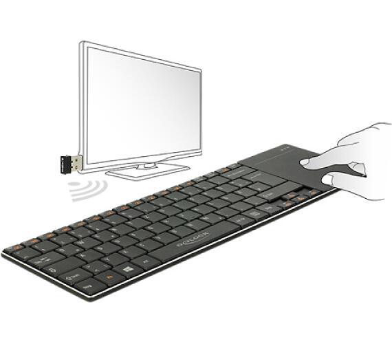 Delock Bezdrátová klávesnice pro Smart TV a Windows PC s Touch Padem 6 mm tenký + DOPRAVA ZDARMA