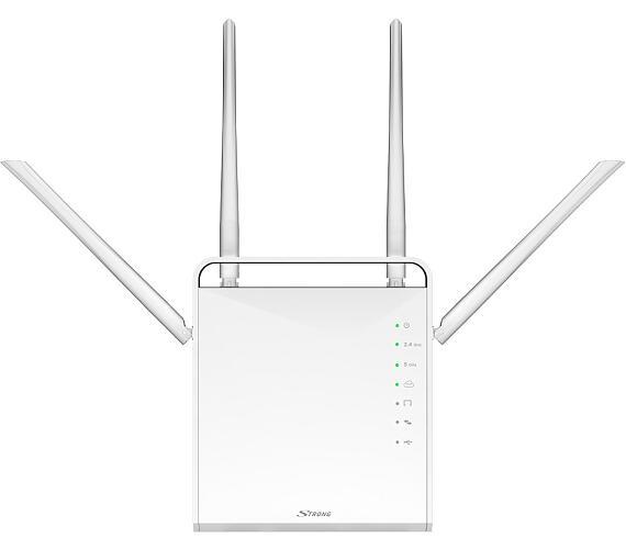 STRONG dvoupásmový router 1200/ Wi-Fi standard 802.11ac/ 1200 Mbit/s/ 2,4GHz a 5GHz/ 4x LAN/ 1x WAN/ 1x USB/ slot micro SD/ černý