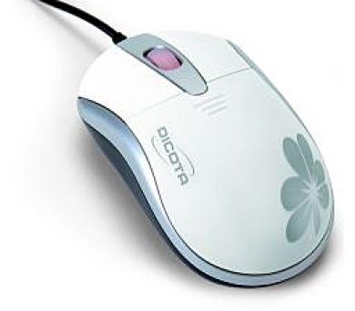 Dicota Blossom - Optická USB myš s květinovým designem - bílá