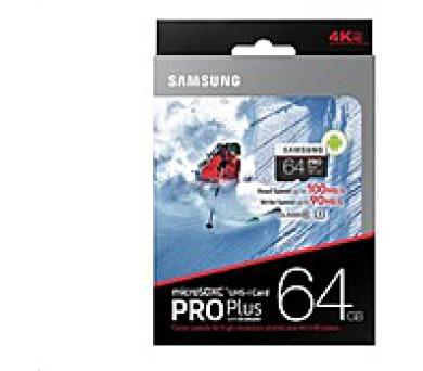 Samsung micro SDXC karta 64GB PRO Plus (Class 10 UHS-3) + SD adaptér (MB-MD64GA/EU)