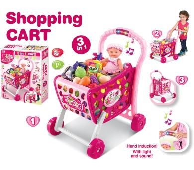 G21 Nákupní košík s melodií s příslušenstvím růžový