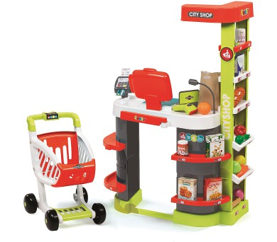 Obchod City Shop červeno-zelený + DOPRAVA ZDARMA