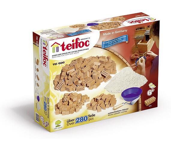 Stavebnice Teifoc Velká sada cihliček+ malta 280ks v krabici 35x29x8cm