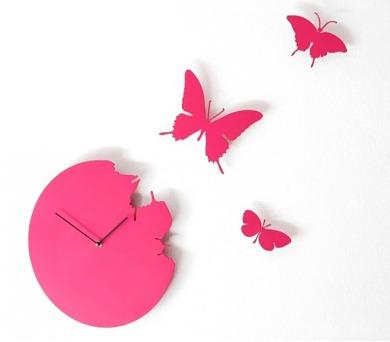 Designové hodiny Diamantini a Domeniconi Butterfly magenta 40cm + DOPRAVA ZDARMA